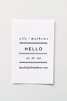 Elle: Letterpress Calling Cards - Set of 50. $75.00, via Etsy.