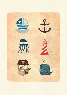 Nautical Journey art print. Kids room wall art. Whimsical cute sea characters for wall decor. Anchor boat pirat whale images for children.
