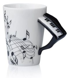 Piano Instrument Mug - Ceramic Advent Season, Tea Service, Coffee Cups, Kitchen Decor, Mosaic, Pottery, Mugs, Tableware, Gifts