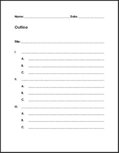 Free Printable Blank Outline for Writing Summaries or Reports.