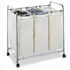 Loving this laundry sorter - now to measure if it would fit underneath the countertop. $69.99 via #organize