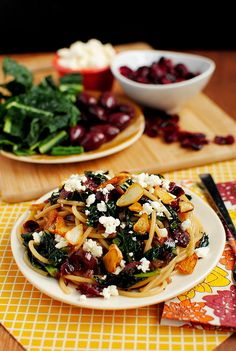 Garlic Pasta with Kale, Cranberries, Olives, and Feta #vegetarian