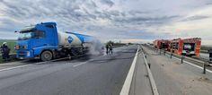 O cisternă încărcată cu combustibil a fost cuprinsă de flăcări pe Autostrada A1