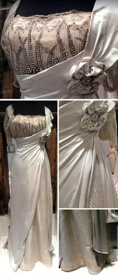 """""""Silk satin and mousseline ball gown embroidered with pearls, artificial gemstones and glitters. Fashion house Worth, Paris, (from museum plaque next to gown) Edwardian Clothing, Edwardian Dress, Antique Clothing, Historical Clothing, Edwardian Era, Steampunk Clothing, 1900s Fashion, Edwardian Fashion, Vintage Fashion"""