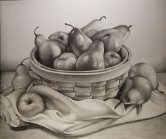I'm surprised I never uploaded this! This is a still life fruit bowl drawing I did over the winter. Graphite.