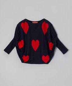 Navy & Red Heart Dolman Sweater - Girls
