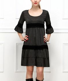 Look what I found on #zulily! Charcoal Crochet Tiered Bell-Sleeve Dress #zulilyfinds
