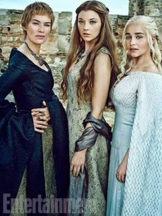Queen Cersei, Queen Margaery, Queen Daenerys. Game of Thrones Season 6 EW promo