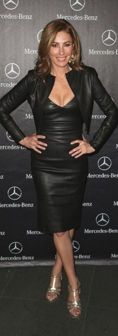 35aafb3b62bdf Andrea Moss in black leather dress and cropped leather jacket. Hope Hall ·  Cocktail & club ...