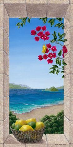 Risultati immagini per dina farris appel artist Mural Painting, Mural Art, Wall Murals, Faux Painting, Window Mural, Diy Canvas Art, Canvas Canvas, Tropical Art, Beautiful Paintings