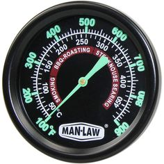 Man-Law 2-Inch Stainless Steel Grill/Smoker Thermometer With Glow In The Dark Dial And Threaded Probe : BBQ Guys