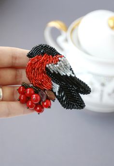 Brooch handmade beaded Beadwork Embroidery by ArtBeadedHouse 5 сm