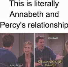 Let's make sea weed brain the new percabeth please! Also Annabeth has been shipping her and Percy since they met. Seaweed for Percy Brain for Annabeth! Percy Jackson Fandom, Memes Percy Jackson, Percy Jackson Film, Percy Jackson Annabeth Chase, Percy Jackson Head Canon, Rick Riordan Series, Rick Riordan Books, Hunger Games, Percy And Annabeth