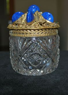 Best Jeweled Lapis Czech or Austrian Vanity Cut Glass Dresser Jar from everydaysagift on Ruby Lane