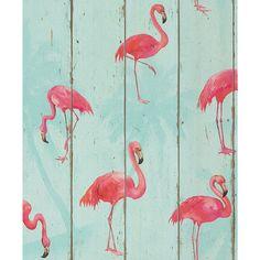 Rasch Flamingoes Wallpaper. Colour: Blue. £12.99