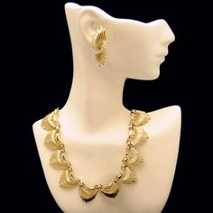 CORO Mid Century Modernist Vintage Necklace Earrings Set Spiked Half Moons Gold Plated #MyClassicJewelry
