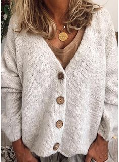 VERYVOGA Polyester Long Sleeves Solid Chunky knit Cardigans