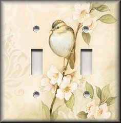 http://stores.ebay.com/Luna-Gallery-Switch-Plates Light Switch Plate Cover - Song Bird With Shabby Flowers - Chic Home Decor - Tan #LunaGallerySwitchPlates
