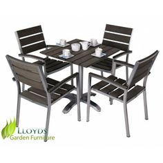 a modern 4 seater patio dining set made from polywood and brushed stainless steel buy all weather garden furniture from lloyds