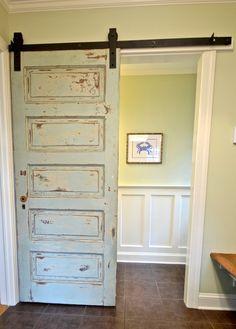 Barn door from vintage salvaged door