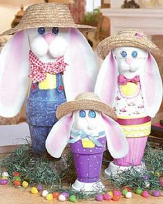 Bunny Clay Pots