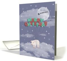 Flying Pig with Balloons on Christmas Eve, Stars, Moon and Santa card
