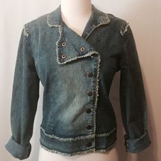 """Cute Versatile Snap Front Denim Jacket Snap front closure denim jacket. Versatile collar options with self fringe details through out.   80% cotton 17% poly 3% spandex  Machine washable   36"""" bust 21"""" overall length Jackets & Coats Jean Jackets"""