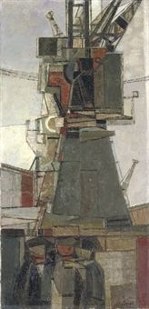 Cranes and Men – Prunella Clough - Everything About Painting Urban Landscape, Landscape Art, Arte Yin Yang, Industrial Paintings, Popular Paintings, Drawing People, Crane, Painting Prints, Artwork