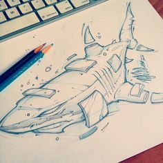 Quick lunchtime scribble! #shark #art #absorb81 #illustration #streetart #instaart #new #sketch #drawing #pencil #style #beach #sandiegoart