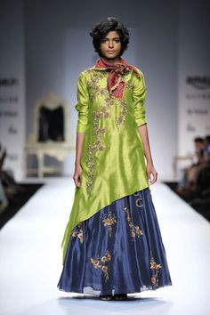 Lime green embroidered asymmetrical kurta with indigo embellished skirt…