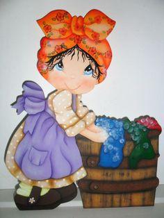 Pintura em madeira, porta sabão em pó