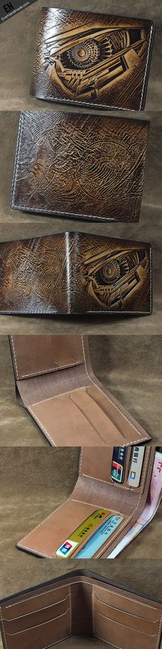 Handmade leather custom short wallet Transformers Decepticons carved f | EverHandmade
