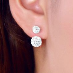 Moda 925 Pendientes de Plata Esterlina de Lujo CZ Diamond Crystal Doble Cara Pendientes de Oído de La Joyería de Las Mujeres Pendientes de diamantes de Imitación