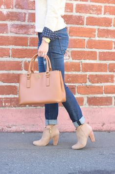 Ciao Sweater - polka dot shirt - denim jeans - suede ankle boots - gold watch - purse  // Click the photo above for full outfit details!