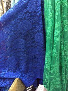 Lace 7 floral lace true blue, floral lace true green
