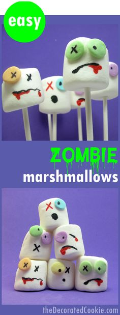 the original ZOMBIE MARSHMALLOWS! Easy Halloween treat idea.
