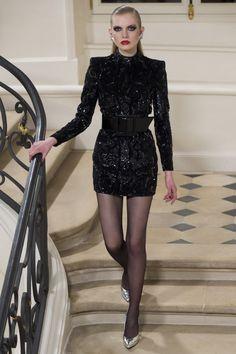 Saint Laurent - glittering black long sleeve minidress - Fall 2016 Ready-to-Wear #80s...x