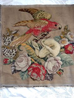Antique Berlin Wool work / Plush work / Bead work  -  Parrot