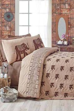 Elefánt-Barna kétszemélyes steppelt ágytakaró szett b7dade1a21