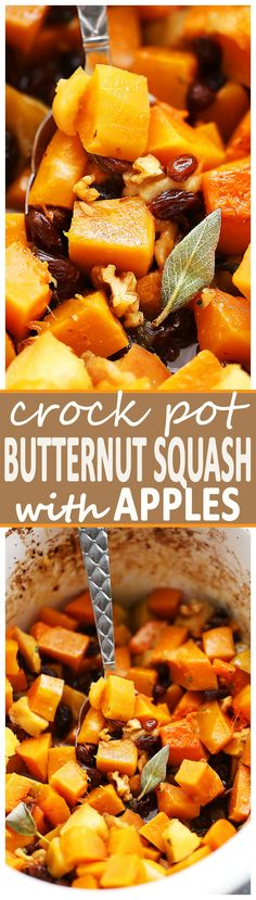 Crock Pot Butternut Squash with Apples, Walnuts and Raisins - This easy, delicious, and simple holiday side dish combines butternut squash, fresh apples, crunchy walnuts and sweet raisins cooked simply in the crock pot.