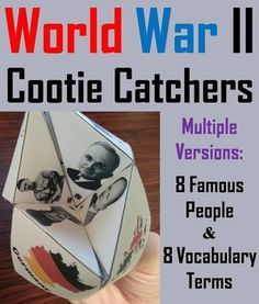These cootie catchers/ fortune tellers are a great way for students to have fun while learning about the different historical figures, events, and terms associated with World War II. How to Play and Assembly Instructions are included.