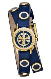 Tory Burch 'Reva Mini' Logo Dial Double Wrap Leather Strap Watch, 21mm