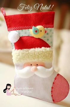 Felt Santa stocking (with sewing pattern) // Mikulás csizma - zokni filcből (szabásmintával) // Mindy - craft tutorial collection // Christmas Projects, Felt Crafts, Holiday Crafts, Holiday Fun, Holiday Decor, Christmas Sewing, Noel Christmas, All Things Christmas, Felt Christmas Decorations