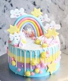 A rainbow cake is fun to look at and eat and a lot easier to make than you might think. Here's a step-by-step guide for how to make a rainbow birthday cake. Baby Cakes, Baby Birthday Cakes, Cupcake Cakes, Happy Birthday, Indian Cake, Star Cakes, Rainbow Birthday, Drip Cakes, Savoury Cake