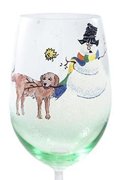 Snowfolks Stemware Collection, Golden Retriever and Funny Snowman Playing a Game of Fetch, 20 Ounce Large, Painted Puppy Dog Lover Wine Glass Design with Decorative Festive Holiday Snowflakes, Emerald