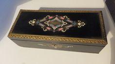 Boîte à gants coffret bois ancien marqueterie Boulle Napoléon III COULEUR/ NACRE