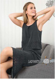 Вязаный спицами женский костюм юбка и топ, описание для размеров от XS до XL