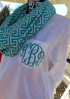 Preppy Monogrammed Long Sleeve Pocket Tshirt Tee Personalied Teen Bridesmaid gift by SoBlessedMonogrammed on Etsy
