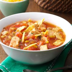Southwestern Chicken Tortilla Soup Recipe from Taste of Home -- shared by Anne Smithson of Cary, North Carolina