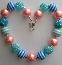 Girl Necklace Pink Chunky Necklace Blue Chunky by PinkHippoCharms